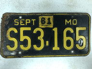 DMV Clear September 1956-1961 MISSOURI Passenger License Plate YOM Clear S53-165 MO