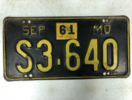 September 1956-1961 Tag MISSOURI Plate License Plate S3-640