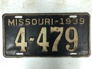 1939 MISSOURI Shorty License Plate 4-479