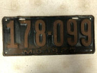 DMV Clear 1925 MISSOURI Passenger License Plate YOM Clear 178-099 MO