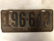 DMV Clear 1920 MISSOURI Passenger License Plate YOM Clear 196-643 MO
