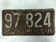 DMV Clear 1948 MISSOURI Passenger Shorty License Plate YOM Clear 97-824 MO