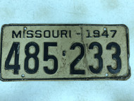 DMV Clear 1947 MISSOURI Passenger License Plate YOM Clear 485-233 MO