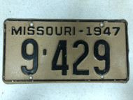 1948 MISSOURI License Plate 9-429