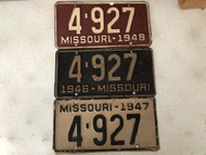 Choose ONE (1) Rare YOM MISSOURI 4-Digit DMV Clear License Plates 4-927 Years 1946, 1947, 1948