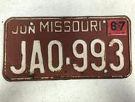 DMV Clear June 1967 MISSOURI Passenger License Plate YOM Clear JA0-993 MO