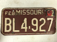 DMV Clear February 1966 MISSOURI Passenger License Plate YOM Clear BL4-927 MO