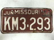DMV Clear June 1962 MISSOURI Passenger License Plate YOM Clear KM3-293 MO