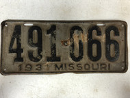 DMV Clear 1931 Ford Model A MISSOURI Passenger License Plate YOM Clear 491-066 MO
