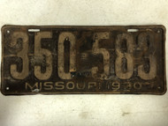 DMV Clear 1930 Ford Model A MISSOURI Passenger License Plate YOM Clear 350-583 MO