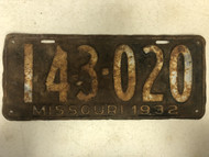 DMV Clear 1932 MISSOURI Passenger License Plate YOM Clear 143-020 MO