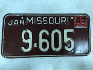 January 1967 MISSOURI License Plate 9-605