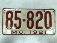 DMV Clear 1921 MISSOURI Passenger License Plate YOM Clear 85-820 MO