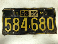 DMV Clear July 1958 & 1959 MISSOURI Passenger License Plate YOM Clear 584-680 MO