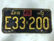 DMV Clear April 1960 MISSOURI Replacement Passenger License Plate YOM Clear E33r200 MO