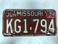 DMV Clear June 1962 MISSOURI Passenger License Plate YOM Clear KG1-794 MO