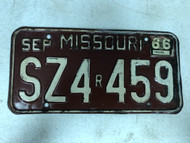 DMV Clear September 1966 MISSOURI Replacement Passenger License Plate YOM Clear SZ4r459 MO