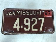 DMV Clear January 1967 MISSOURI Passenger License Plate YOM Clear 4-927 MO