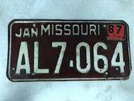 DMV Clear January 1967 MISSOURI Passenger License Plate YOM Clear AL7-064 MO