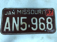 DMV Clear January 1967 MISSOURI Passenger License Plate YOM Clear AN5-968 MO