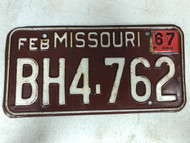 DMV Clear February 1967 MISSOURI Passenger License Plate YOM Clear BH4-762 MO