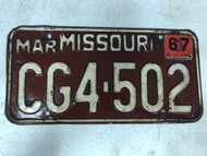 DMV Clear March 1967 MISSOURI Passenger License Plate YOM Clear CG4-502 MO