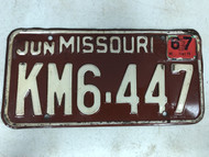 DMV Clear June 1967 MISSOURI Passenger License Plate YOM Clear KM6-447 MO