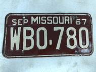 DMV Clear September 1967 MISSOURI Passenger License Plate YOM Clear WB0-780 MO