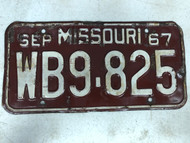 DMV Clear September 1967 MISSOURI Passenger License Plate YOM Clear WB9-825 MO