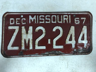 DMV Clear December 1967 MISSOURI Passenger License Plate YOM Clear ZM2-244 MO