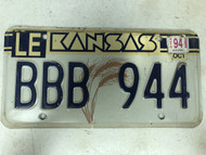 October 1994 Tag Kansas Leavenworth County License Plate BBB-944 Wheat
