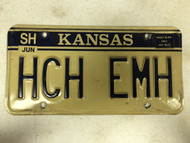 June No Year Kansas Sherman County License Plate HCH-EMH