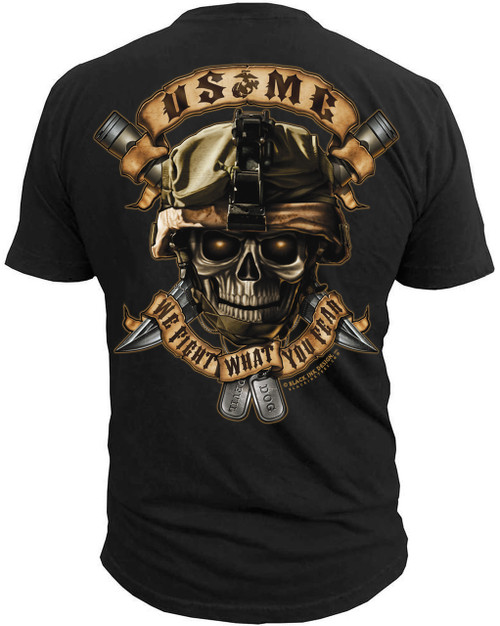 """Men's Marines T-Shirt - US Marines Corps """"We Fight What You Fear"""" Marines - Black - Back"""