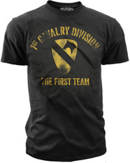 Men's Army T-Shirt - US Army 1st Cavalry - The First Team Retro - Black - Front