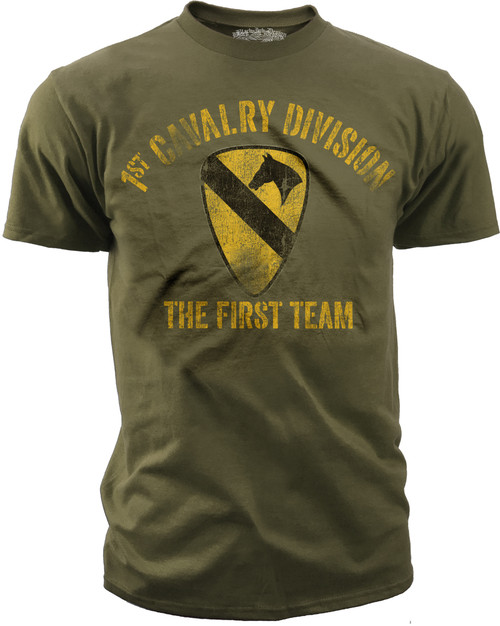 Men's Army T-Shirt - US Army 1st Cavalry - The First Team Retro - Olive - Front