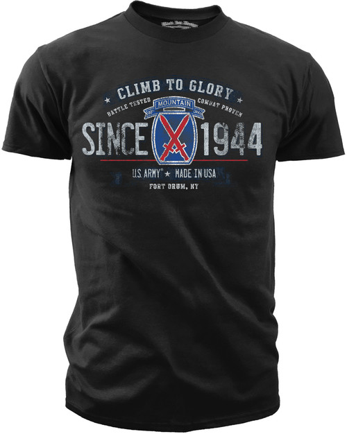 Men's Army T-Shirt - US Army 10th Mountain Division Retro - Front