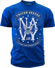 Men's Navy T-Shirt - US Navy Ruling the Raging Main Retro - Back