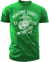"Men's Marines T-Shirts - United States MARINE CORPS ""LIVE FREE"" VINTAGE USMC Kelly Green"