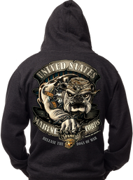 "Men's Hoodie - USMC Bulldog - ""Release the Dogs of War"" Men's Hooded Sweatshirt"