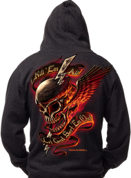 Men's Marines Hoodie - USMC Kill 'Em All - Let God Sort 'Em Out Hooded Sweatshirt - Back