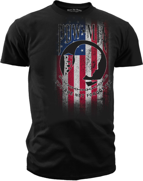 Men's T-Shirt - POW/MIA - You Are Not Forgotten Red White & Blue American Pride Shirt - Army, Marines, Navy, Air Force, Coast Guard