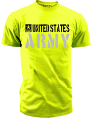 Men's Army T-Shirt - United States Army Hi Vis Safety Green