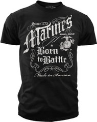 Men's Marine T-Shirt Marines Born to Battle Black T-Shirt