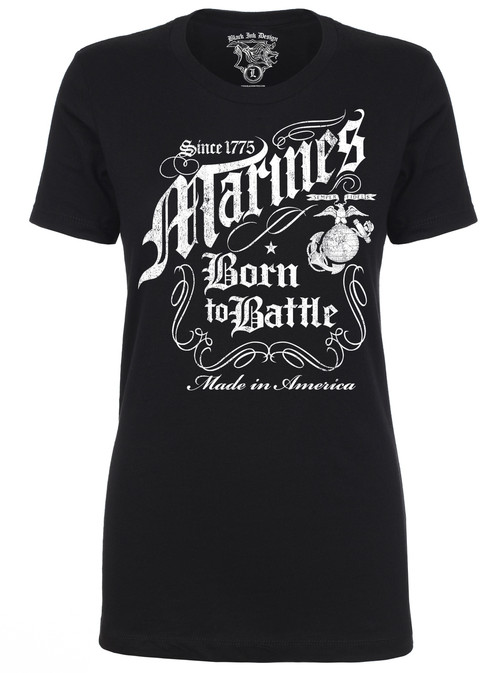Lady's Marine T-Shirt Marines Born to Battle Black T-Shirt