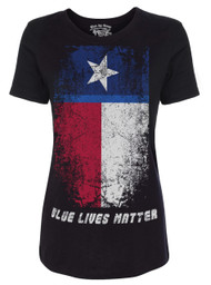 Lady's T-Shirt Blue Lives Matter - Texas Flag T-Shirt