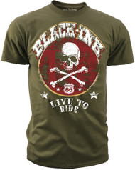 Black Ink's Mens Live to Ride T-Shirt Olive