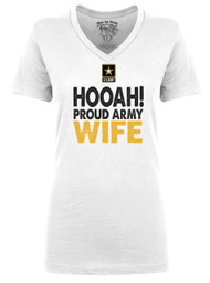 Hooah - Proud Army Wife - Military Pride V-Neck