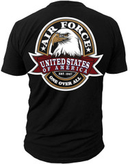 Men's U.S. Air Force Label One Over All T-Shirt Back