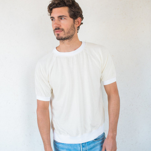 Jungmaven : Short Sleeve Raglan Washed White
