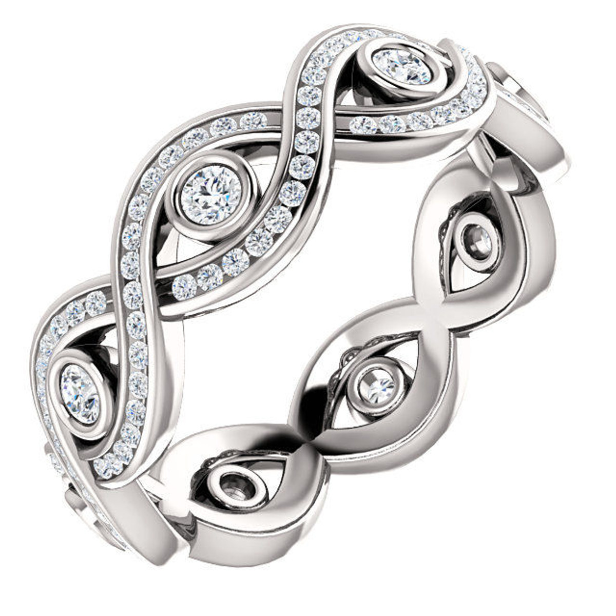 14Kt White Gold Twisted Eternity Ring